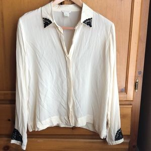 Club Monaco 100% Silk Blouse Top - Large